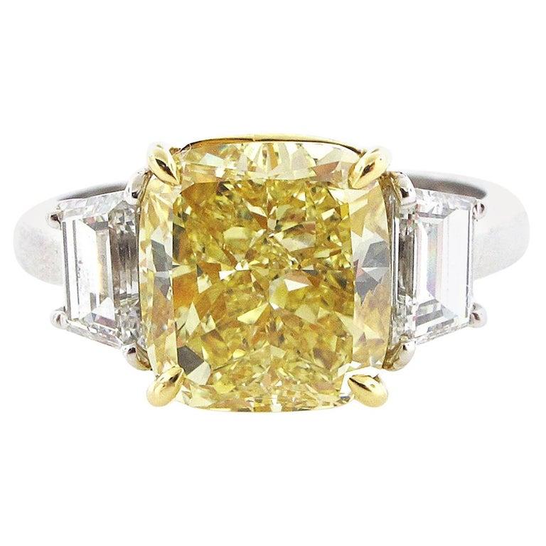 GIA Certified 4.02 Carat Fancy Yellow Cushion Cut Diamond Engagement Ring