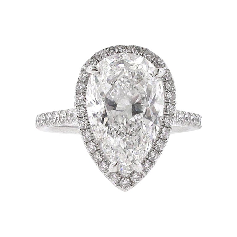 GIA Certified 4.05 F/Si1 Pear Shape Diamond Halo Engagement Ring