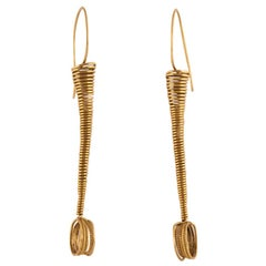 18 Karat Gold Coil Spring Wire Earrings