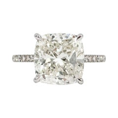 J. Birnbach GIA Certified 5.02 Carat Cushion Diamond Engagement Ring