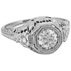 Antique Engagement Ring 18 Karat White Gold .51 Carat Diamond Art Deco