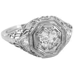 .50 Carat Diamond Art Deco Antique Engagement Ring 18 Karat White Gold