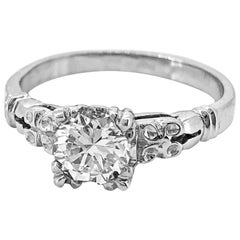 Art Deco Diamond Antique Engagement Ring .50 Carat Diamond and White Gold