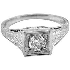 .33 Carat Diamond Art Deco Antique Engagement Ring Platinum