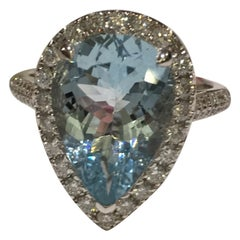 Pear Shape Aquamarine Ring Set in 14 Karat Gold