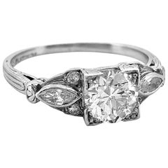 Antique Engagement Ring .91 Carat Diamond and Platinum Art Deco