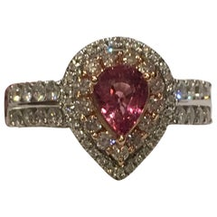 Padparadscha Sapphire Pink and White Diamonds Ring Set in 14 Karat Two-Tone Gold