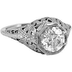 """Antique Engagement Ring """"Belais"""" .83 Carat Diamond and 18 Karat White Gold"""