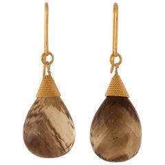 Smoky Topaz 18 Karat Gold Drop Earrings