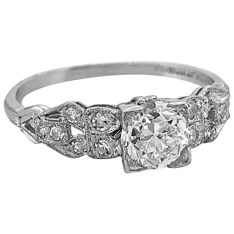 Art Deco .60 Carat Diamond Antique Engagement Ring Platinum