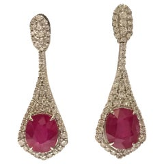 Ruby and Diamonds Earrings Set in 18 Karat White Gold