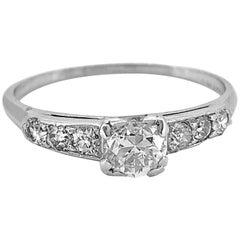 Platinum Art Deco Antique Engagement Ring .50 Carat Diamond