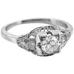 Art Deco Antique Engagement Ring Platinum .38 Carat Diamond