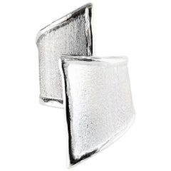 Yianni Creations Fine Silver and Oxidized Rhodium Geometric Two-Tone Ring