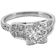 .98 Carat Diamond and Platinum Antique Engagement Ring Art Deco