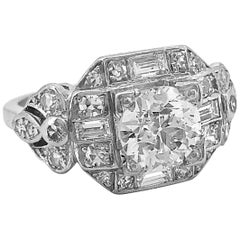 Antique Engagement Ring 1.22 Carat Diamond and Platinum Art Deco