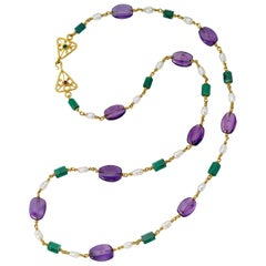 Emerald Amethyst Pearls and Chrome Tourmaline yellow gold 22 Karat Gold Necklace