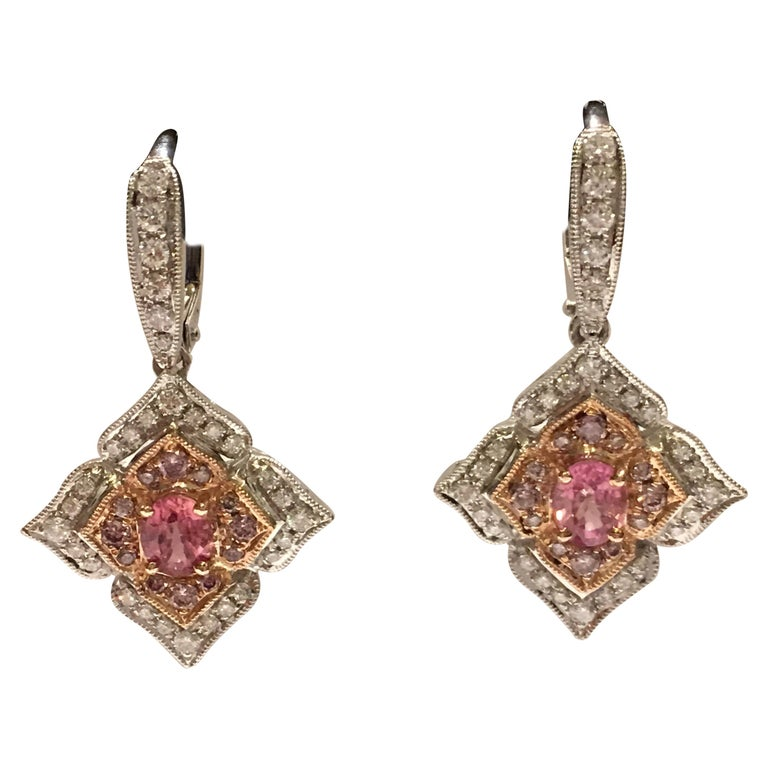 Padparadscha Shire Pink And White Diamonds Earrings Set In 14 Karat Gold For