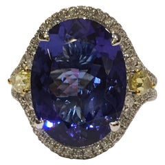 Tanzanite and Diamond Ring Set in 14 Karat White Gold