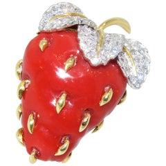 Tiffany & Co. Oxblood Coral Strawberry Brooch, circa 1960