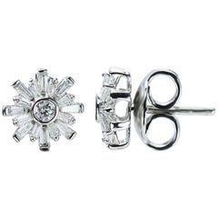 Studio Rêves 18 Karat White Gold Baguette Stud Earrings