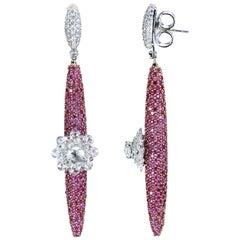 Studio Rêves 18 Karat Gold, Diamonds and Pink Sapphire Dangling Earrings