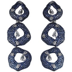Studio Rêves 18K Gold, Diamonds and Blue Sapphire Circular Dangling Earrings