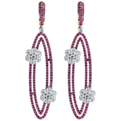 Studio Rêves 18 Karat Gold, Diamonds and Pink Sapphire Oval Dangling Earrings