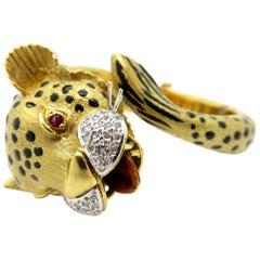 Custom 18 Karat Gold Leopard Diamond, Ruby, and Enameled Cuff Bangle Bracelet