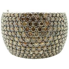 Estate Round Brown Diamond Pave 18 Karat White Gold Bangle Bracelet