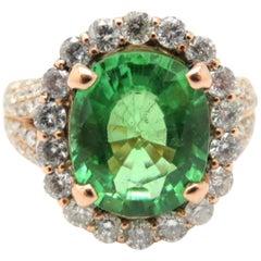 Estate GIA Cert Paraiba Green Tourmaline Cushion Halo Ring 14K Rose Gold