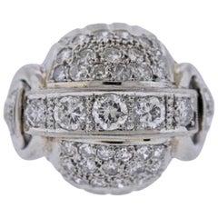 2.00 Carat Diamond French Platinum Bombe Ring