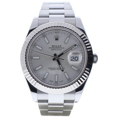 Rolex Datejust II 116334 with Band, White-Gold Bezel and Silver Dial