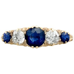 1.39 Carat Sapphire Diamond, Gold Five-Stone Ring