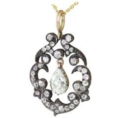 Victorian 3.48 Carat Old Cut Diamond Pear Drop Pendant