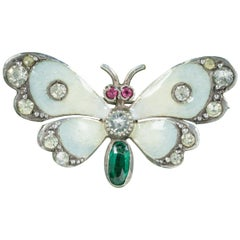 Antique Victorian Paste Emerald Butterfly Brooch Silver Dated 1902