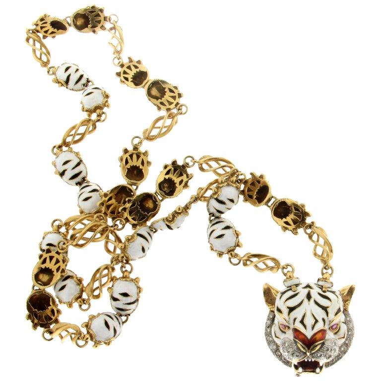 Frascarolo Enamel 18 karat Yellow Gold Diamonds Tiger Pendant Necklace For Sale