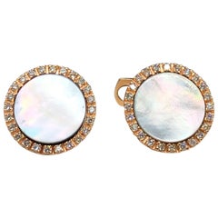 White Diamond Natural Light Grey Mother-of-Pearl 18 Karat Gold Cufflinks