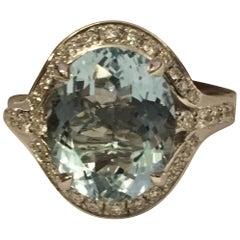 Oval Aquamarine and Diamond Ring Set in 18 Karat White Gold