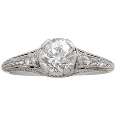 Antique Diamond and Platinum Solitaire Ring, circa 1915