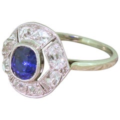 Art Deco Sapphire and Old Cut Diamond 18 Karat Gold Platinum Ring