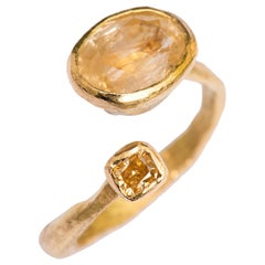 Yellow Sapphire and Diamond 18 Karat Gold Handmade Ring by Disa Allsopp