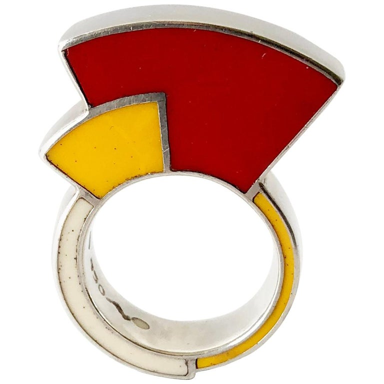 Postmodernist Sterling Silver Enamel Memphis Ring For Sale