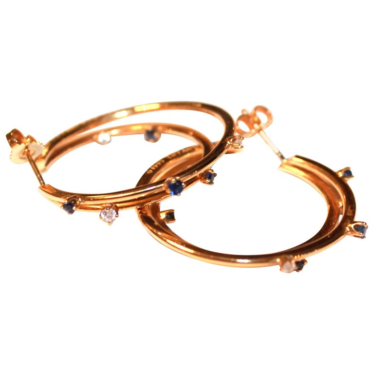 Tiffany & Co. Yellow Gold White Diamond and Blue Sapphire Double Hoop Earrings