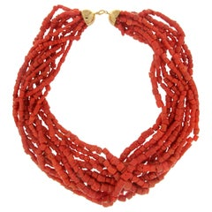 Sardinia Coral 18 Carat Yellow Gold Multi-Strands Necklace