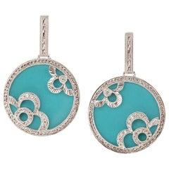 Robin's Egg Blue Turquoise Diamond Gold Dangle Earrings