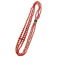 Sardinia Coral 14 Carat Yellow Gold Multi-Strands Necklace
