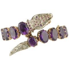 Amethystes Diamonds Sapphires Rose Gold and Silver Bracelet
