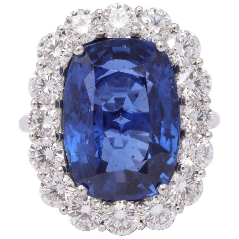 19 Carat Ceylon No Heat Sapphire and Diamond Ring