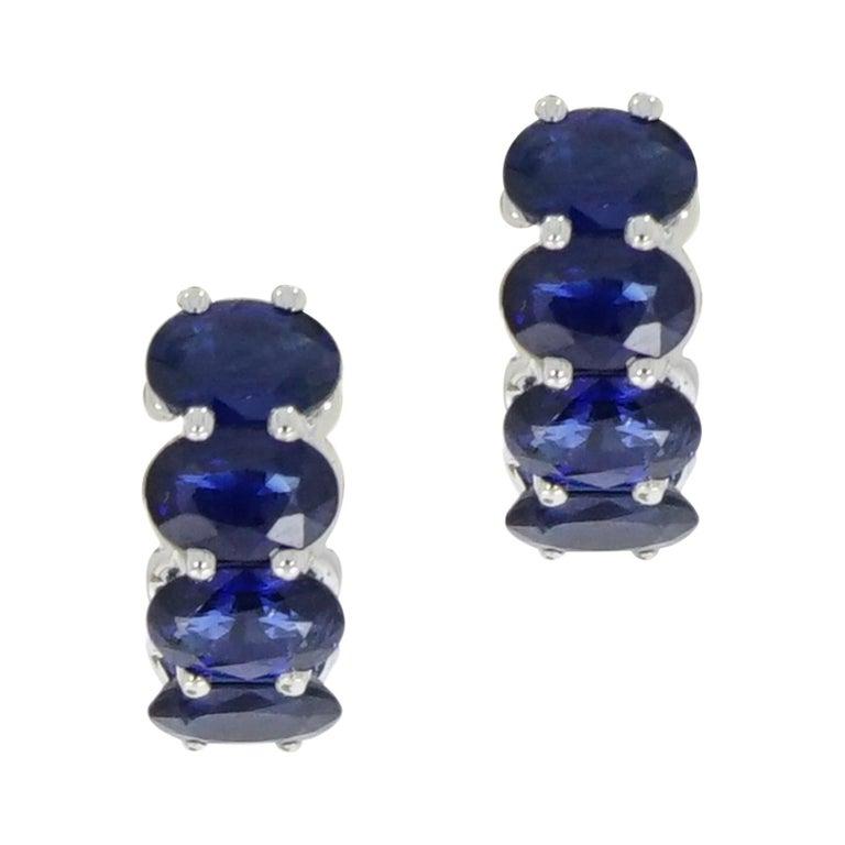 Sapphire Huggie White Gold Earrings